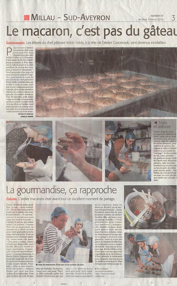 Midi Libre Millau - Ateliers de pâtisserie Cocoricook