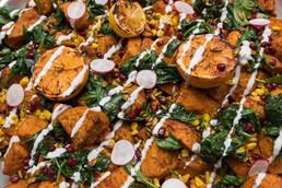 Spice Dusted Yams, Corn, Spinach, Cardam