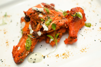 Tandoori chicken Wings with curry ranch.