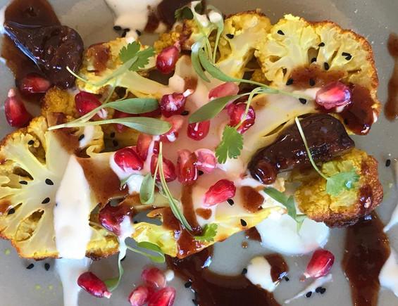 saffron infused cauliflower steak with T