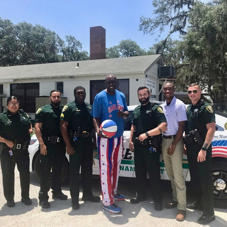 HARLEM GLOBETROTTER HANGS OUT WITH WEST END CREW