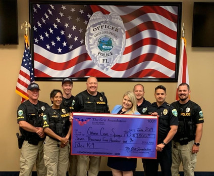The Grit Foundation presents Green Cove Springs Police Department with funds for K9