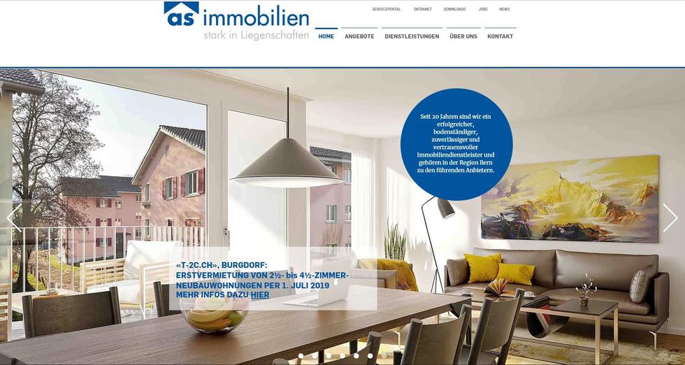 webdesign durch googplace in mühleberg, murten, bern für die firma as immobilien