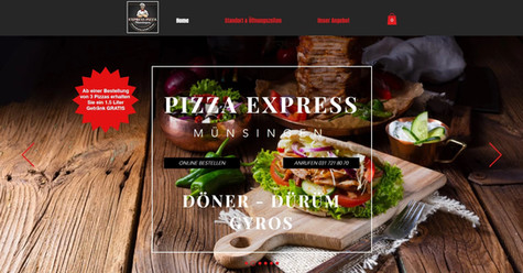 webdesign in münsingen für pizza express, onlinebestellungen und take away