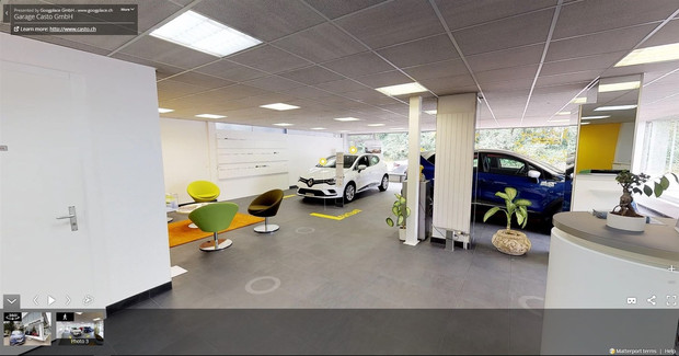360 grad aufnahmen einer autogarage showroom