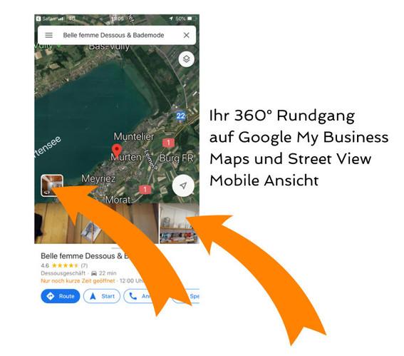 360° Aufnahmen in Google Maps auf dem Mobile