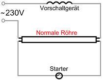 normaler anschluss fluoreszenzröhren