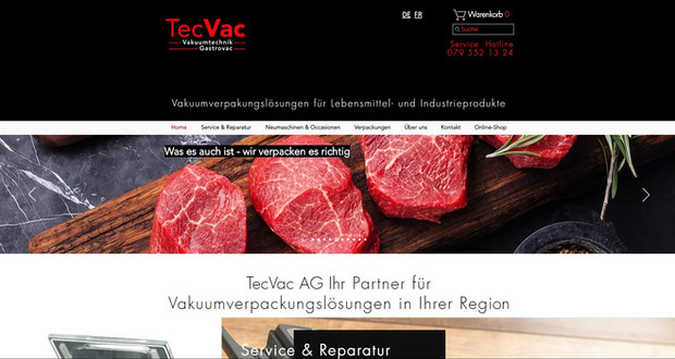 tecvac webseite mit shop