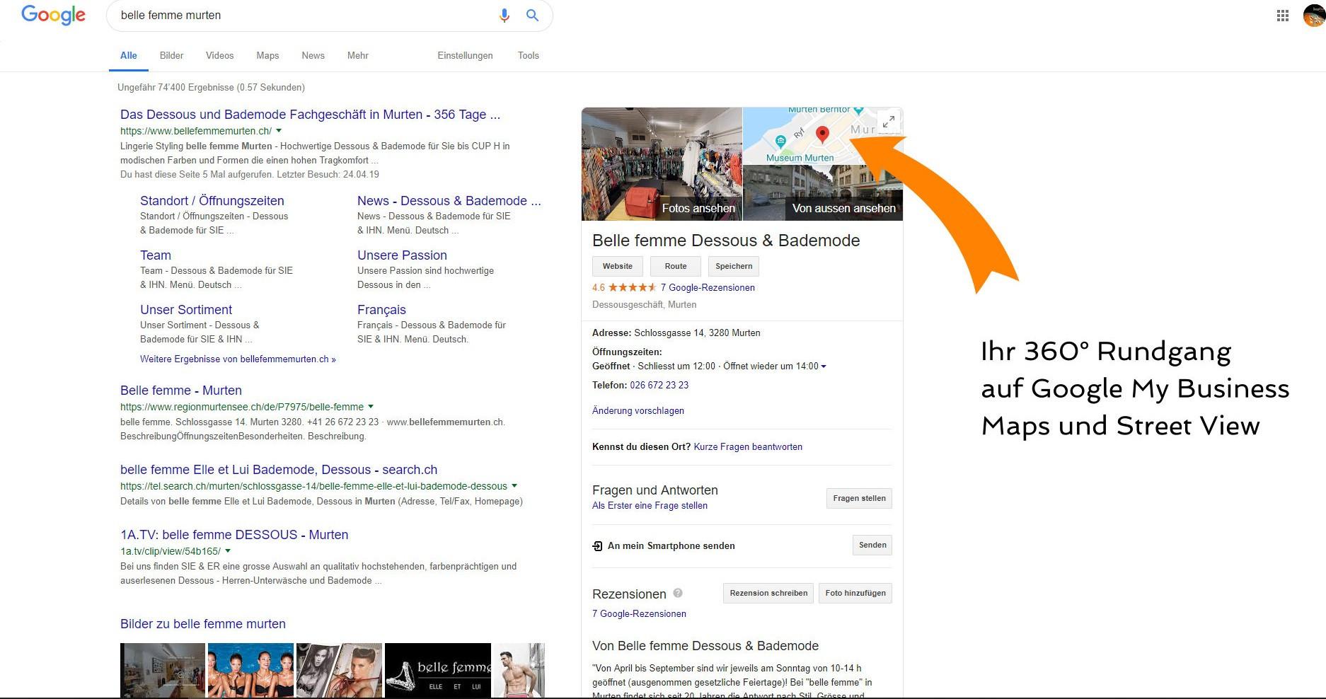 Ansicht Google My Business in der Google Suche