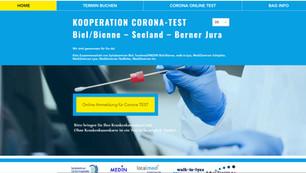 webseite für kooperation corona test seeland biel, bern