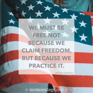 4th Of July Freedom Quote With American Flag by @MyOwnEulogy