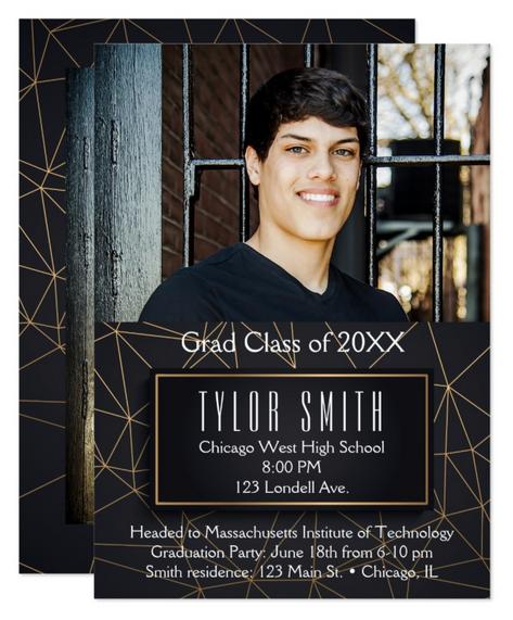 Modern Black & Gold Graduation Invitation