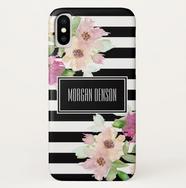 Watercolor Flowers & Stripes Phone Case