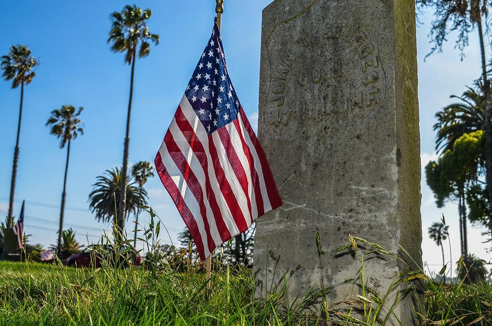 American Flag By Headstone