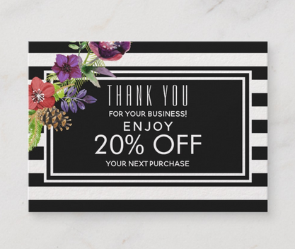 Watercolor Flowers & Stripes Holiday Discount Card