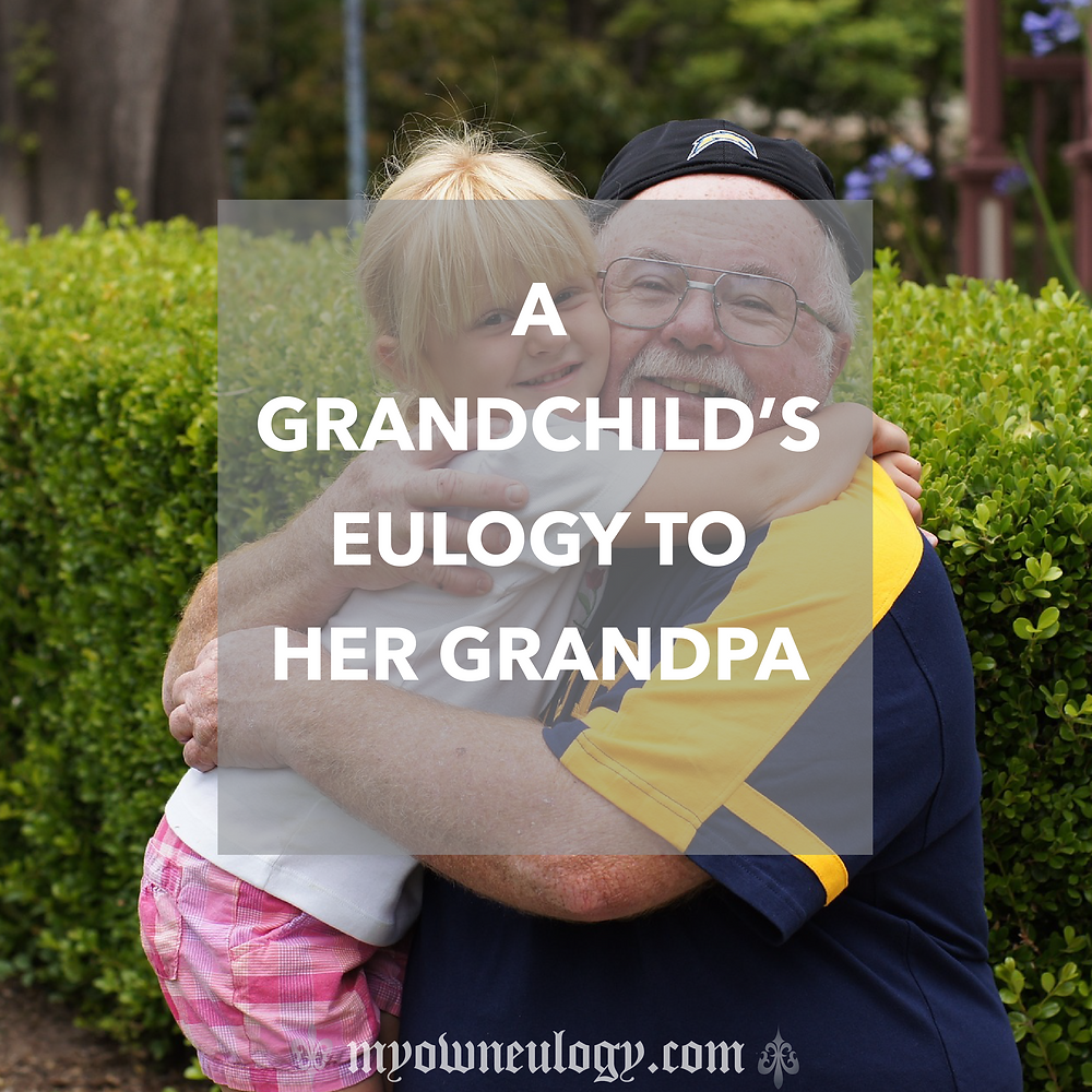 A girl embracing her grandfather
