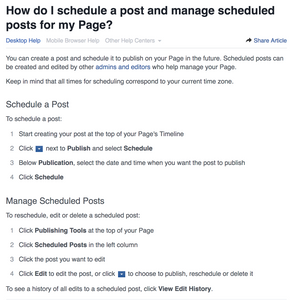 How to pre-schedule posts on Facebook