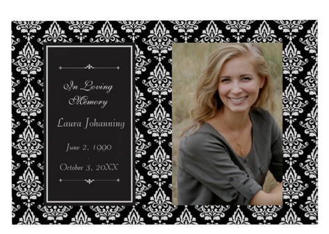White Damask Photo Funeral Guest Book