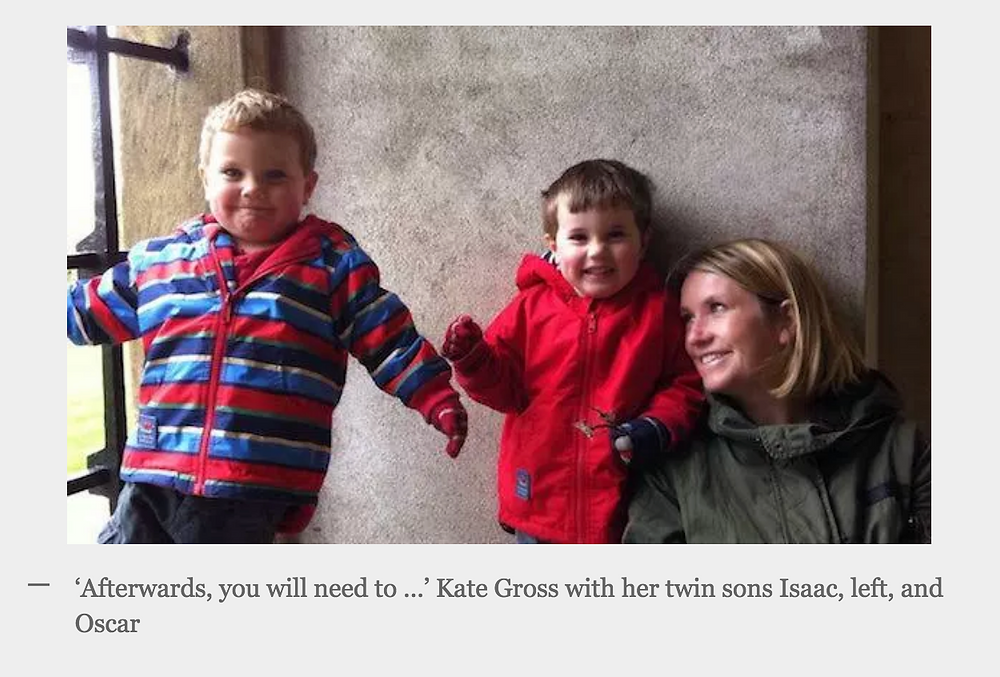 Kate Gross with her twin sons