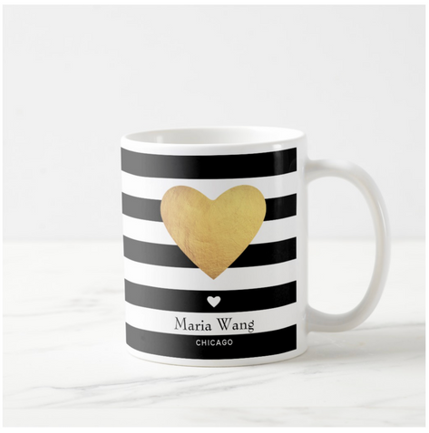 Heart Of Gold With Stripes Coffee Mug