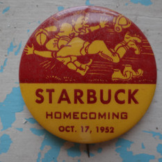 Starbuck Homecoming button 1952