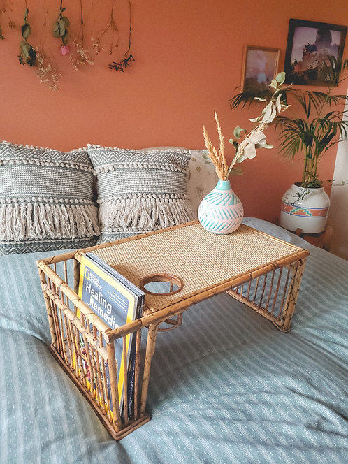 Bamboo and Rattan Serving Tray and Magazine Holder