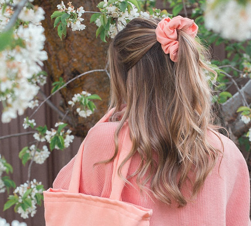 Peach Dreams Upcycled, Zero Waste, Large Scrunchie