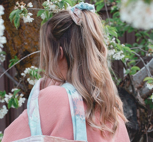 Spring Floral Gradient Upcycled, Zero Waste, Large Scrunchie