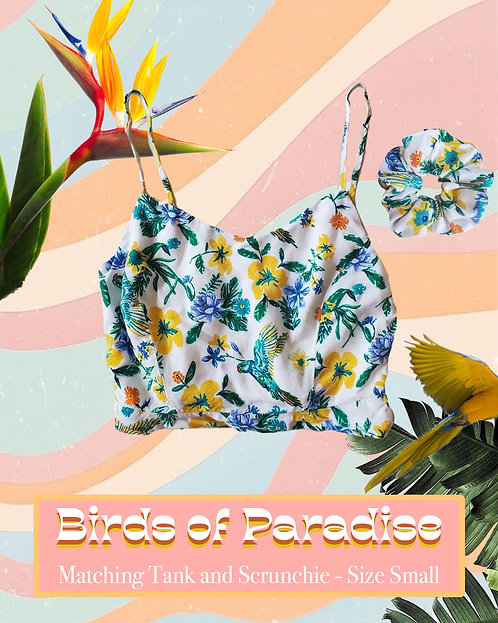 Birds of Paradise - Tank Top and Matching Scrunchie, Upcycled and Handmade