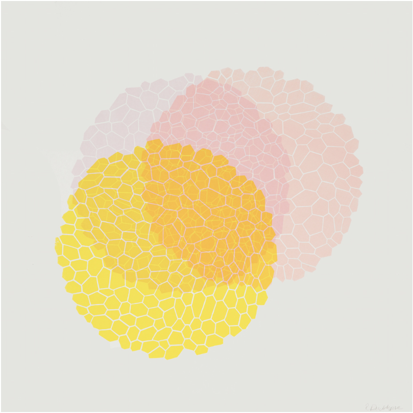 Image of a screen print with three circular elements, with a fan-like display, tilted to the right. They are made of smaller hexagones, one yellow, the other pink and the third one light purple. At the center, they are superimposed, thus creating a colourful mesh.