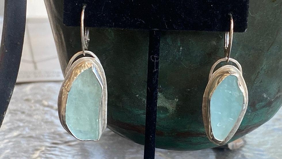 Raw Aquamarine Earrings #2