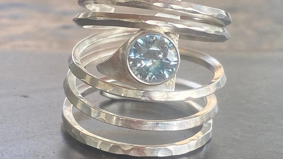 Dramatic Blue Zircon ring