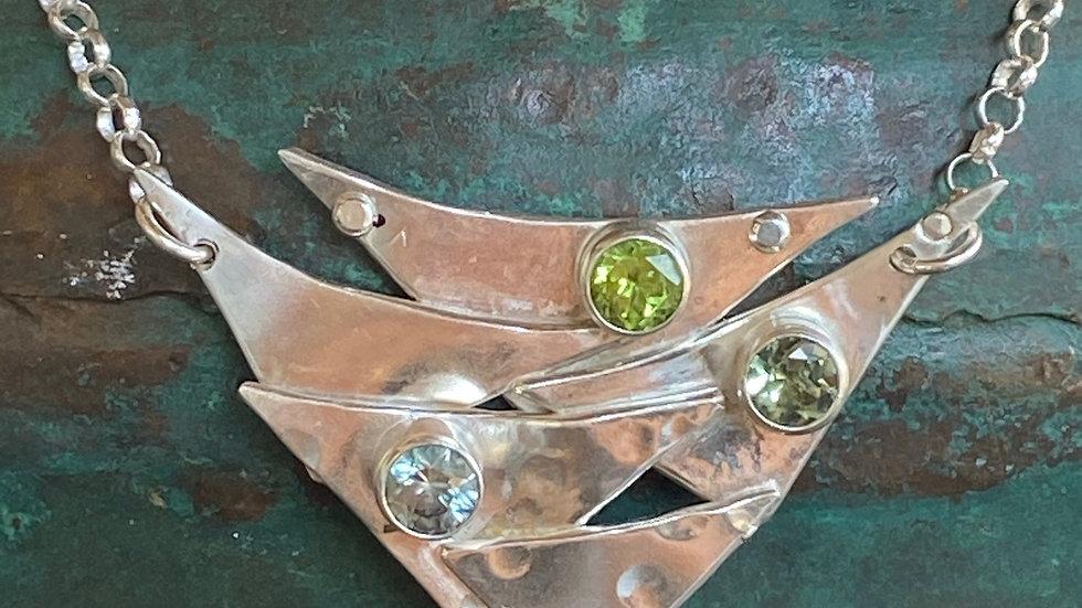 Multi Stone Fine Silver Necklace
