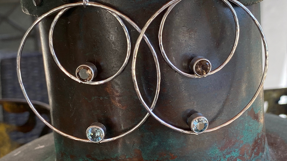 Sterling Silver Hoop Earrings with Blue Zircon and Smoky Quartz