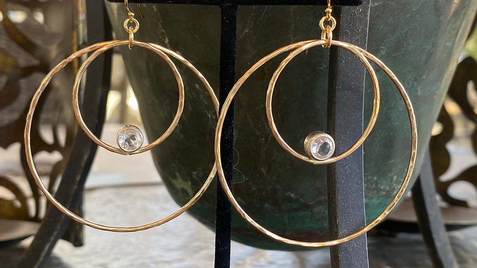 Gold Hoops with Zircons