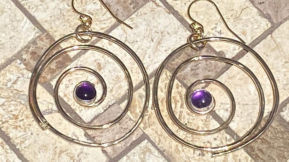 Gold Swirl Earrings with Amethyst