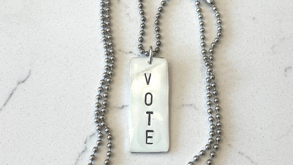 """""""VOTE"""" Dog Tag Style Necklace"""