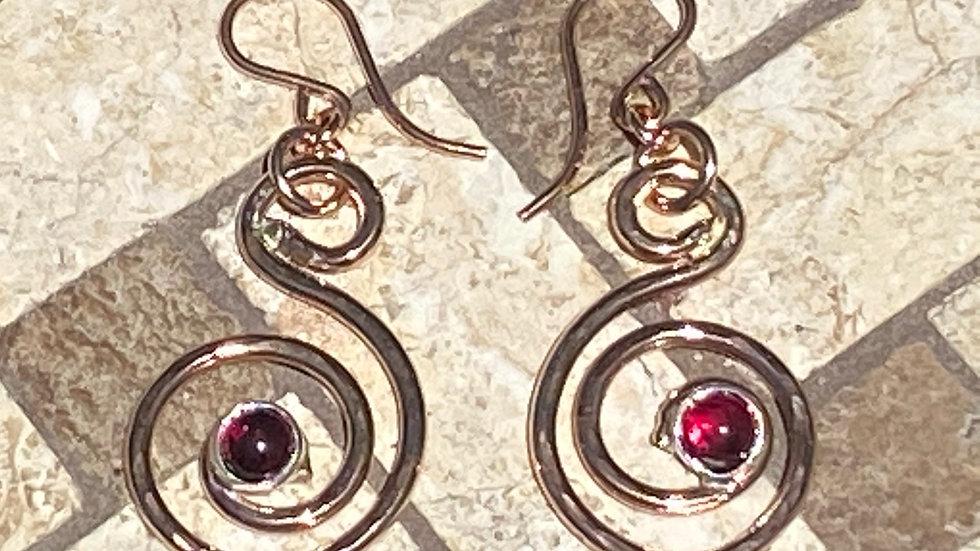Rose Gold and Garnet Swirl Earrings