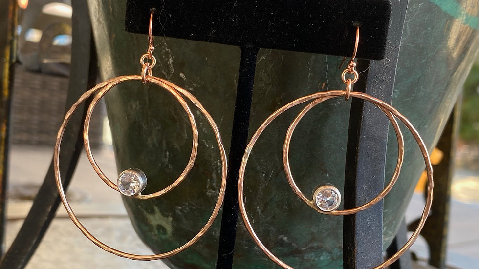 Rose Gold Zircon Earrings