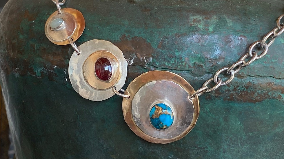 Multi Stone Disc Necklace