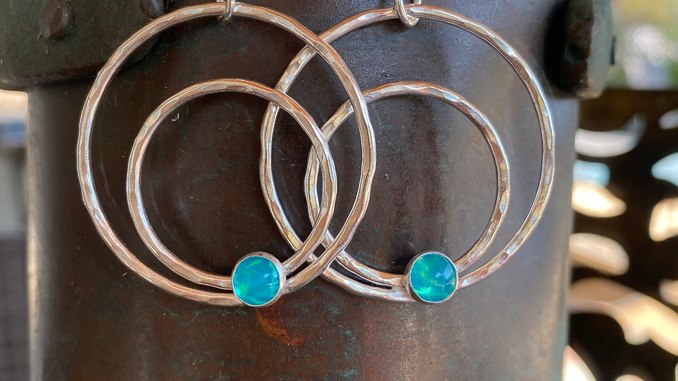 Fine Silver Hoop Earrings with Blue Opal