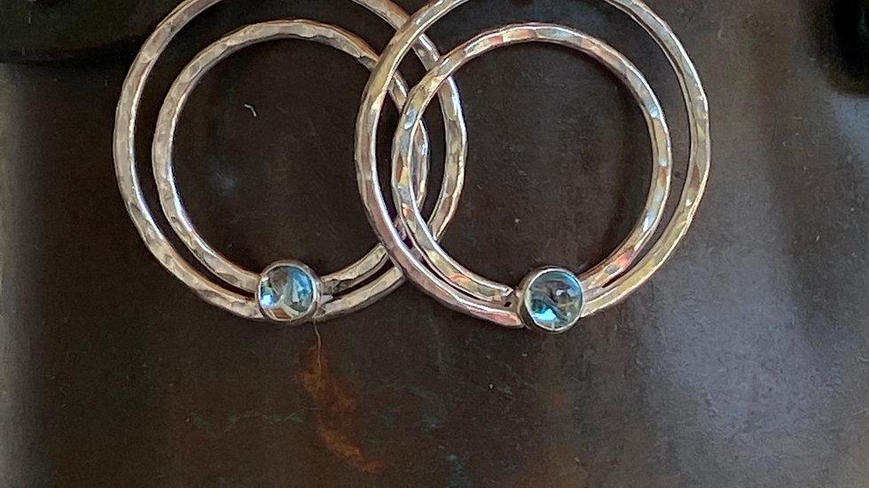 Fine Silver Hoop Earrings with Blue Topaz