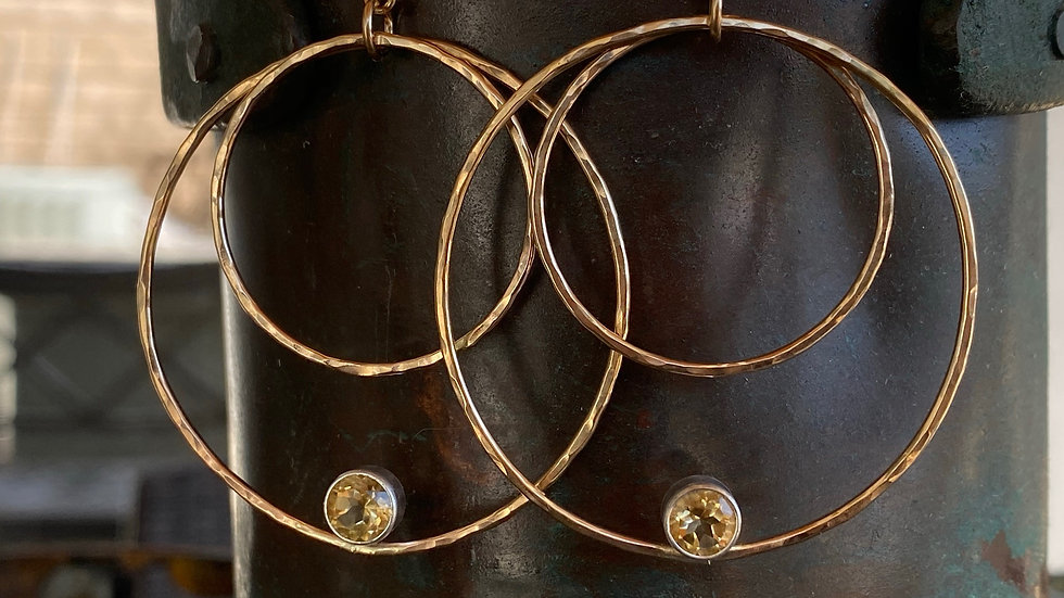 Gold Double Hoop Earrings with Citrine