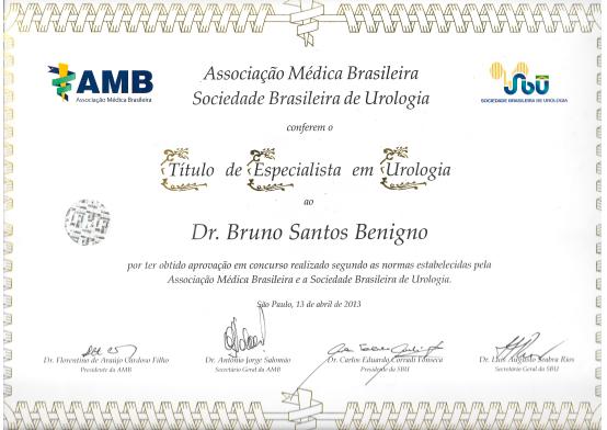 Titulo de Especialista em Urologia