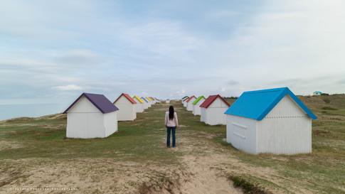 Les cabanes. Normandie, Gouville-sur-Mer. France