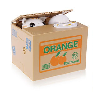 orange cat money box
