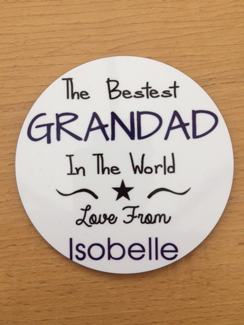 The Bestest Grandad In The World Coaster & personalise with a name