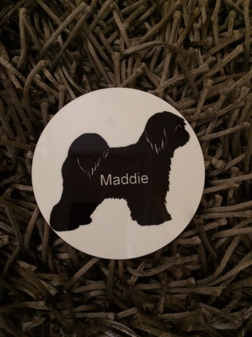 Tibetan Terrior silhouette coaster and personalise with a name