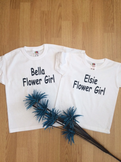 Children's white t shirt - Flower Girl & name -  perfect for a wedding