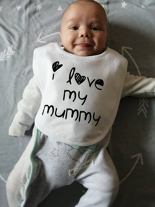White 100% cotton Baby Bib I love my mummy